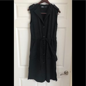 Zara Black Button Up Dress Tie Waist Lyocell Sz S